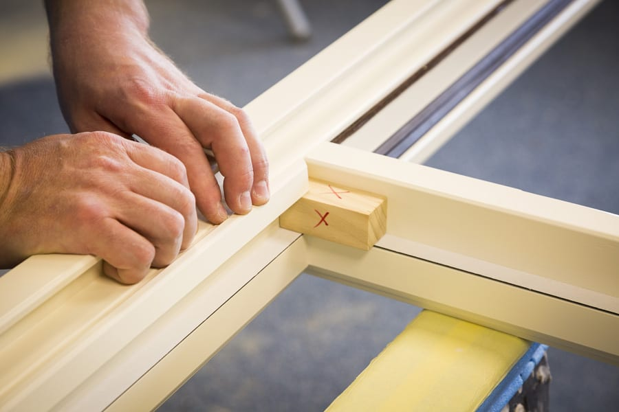 Wooden window frame construction